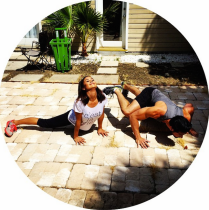 Catherine Lowe works up a sweat outside.