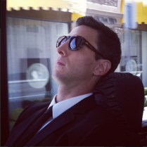Pablo Schreiber rests on the way to the show.